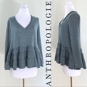 Anthropologie Deletta Teal Ruffle Layer Thermal